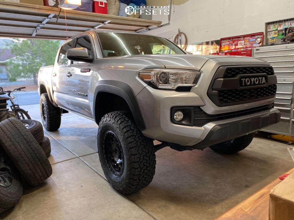 "2017 Toyota Tacoma Slightly Aggressive on 17x9 -12 offset KMC Km545 and 285/70 BFGoodrich All-terrain Ta Ko2 on Suspension Lift 3.5"" - Custom Offsets Gallery"