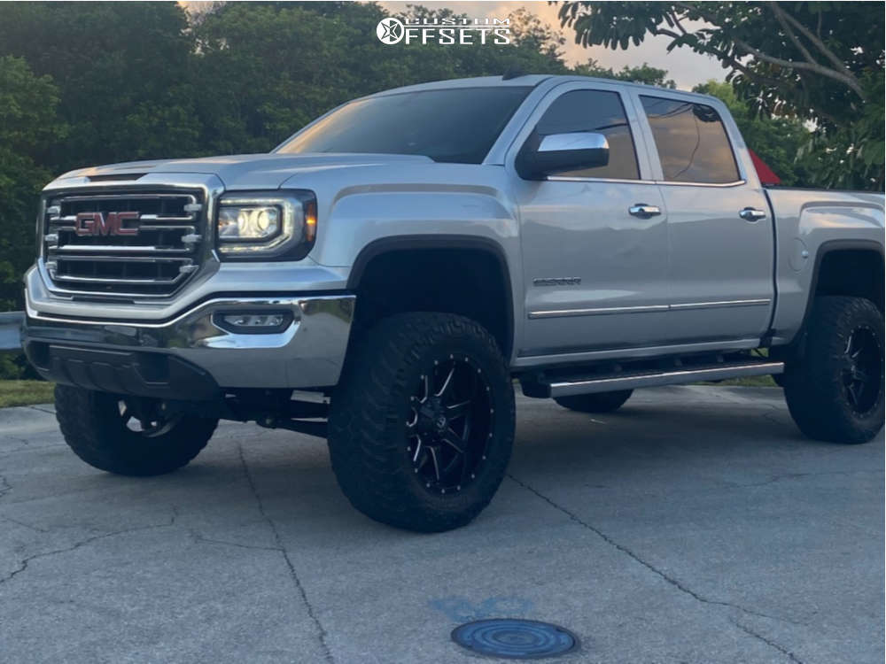 """2018 GMC Sierra 1500 Aggressive > 1"""" outside fender on 20x10 -25 offset Fuel Maverick and 35""""x12.5"""" Nitto Ridge Grapplers on Suspension Lift 6.5"""" - Custom Offsets Gallery"""