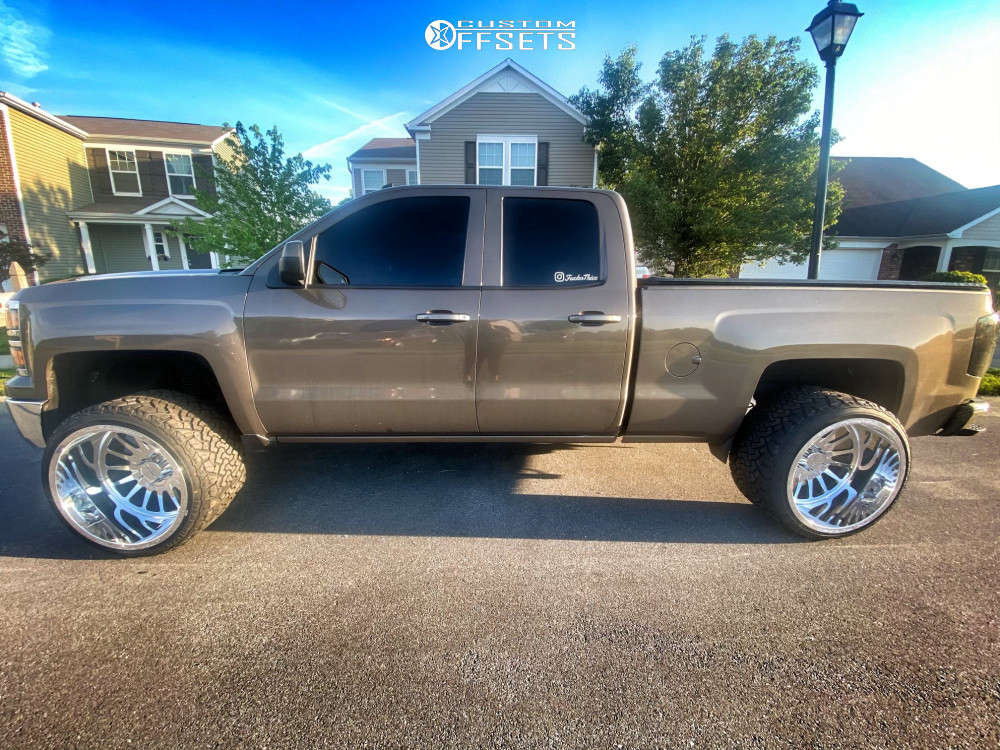 """2014 Chevrolet Silverado 1500 Hella Stance >5"""" on 24x16 0 offset JTX Forged Silencer and 33""""x14.5"""" Venom Power Terrain Hunter X/t on Leveling Kit - Custom Offsets Gallery"""