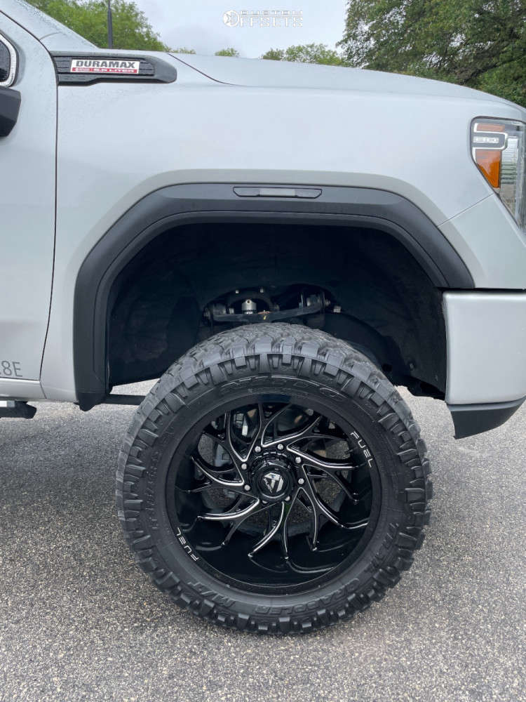 """2020 GMC Sierra 2500 HD Aggressive > 1"""" outside fender on 22x12 -44 offset Fuel Runner and 375/45 Nitto Trail Grappler on Suspension Lift 6.5"""" - Custom Offsets Gallery"""