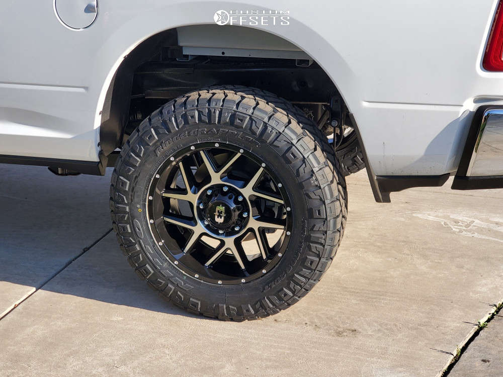 """2021 Ram 2500 Aggressive > 1"""" outside fender on 20x9 18 offset Vision Sliver and 35""""x11.5"""" Nitto Ridge Grappler on Stock Suspension - Custom Offsets Gallery"""