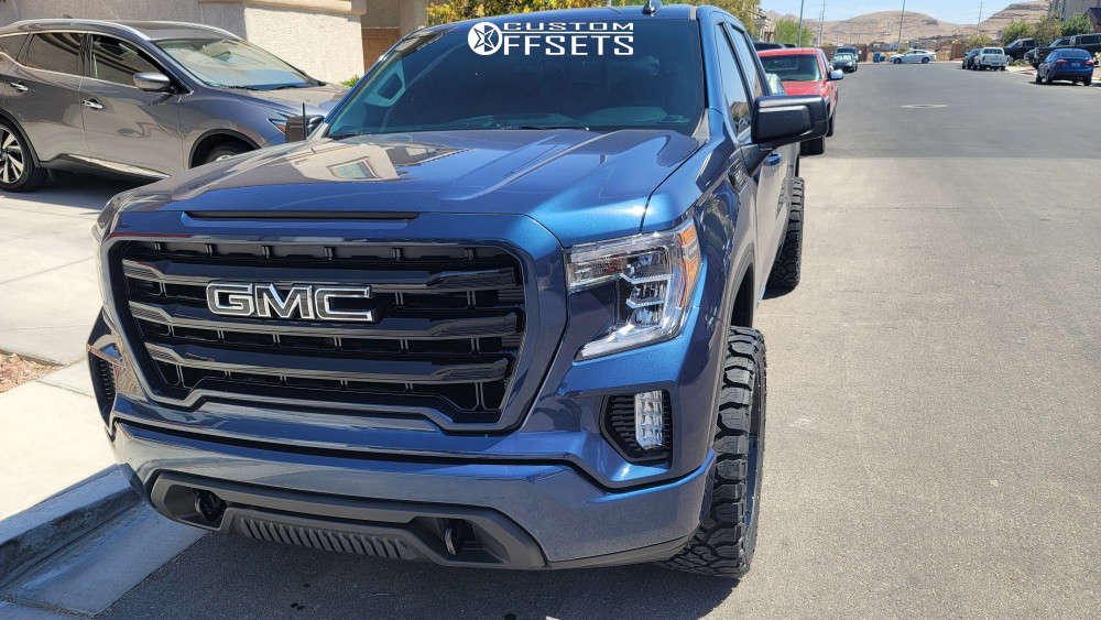 """2020 GMC Sierra 1500 Aggressive > 1"""" outside fender on 22x10 -19 offset Vision Spider and 33""""x12.5"""" Kenda Klever At on Level 2"""" Drop Rear - Custom Offsets Gallery"""