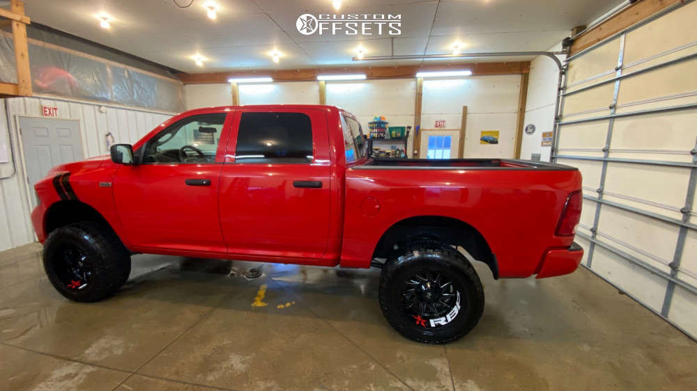 """2012 Ram 1500 Aggressive > 1"""" outside fender on 20x12 -44 offset RBP Silencer and 35""""x12.5"""" Dick Cepek Trail Country on Suspension Lift 6"""" - Custom Offsets Gallery"""