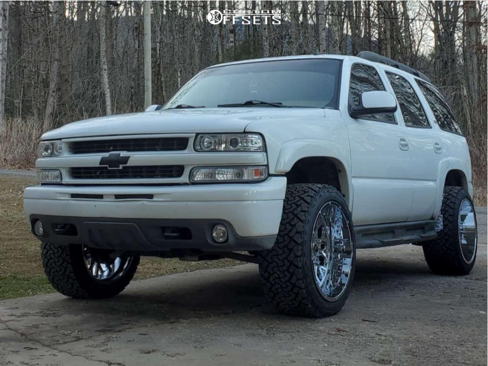 "2006 Chevrolet Tahoe Super Aggressive 3""-5"" on 22x12 -51 offset Vision Rocker 412 and 33""x12.5"" Venom Power Terra Hunter X/t on Leveling Kit - Custom Offsets Gallery"