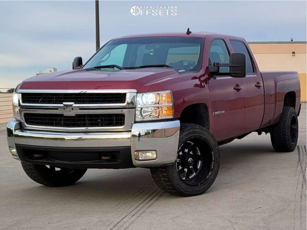 """2007 Chevrolet Silverado 3500 HD Aggressive > 1"""" outside fender on 20x12 -44 offset Fuel Turbo and 33""""x12.5"""" Toyo Open Country R/t on Stock Suspension - Custom Offsets Gallery"""