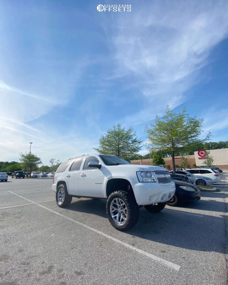 """2009 Chevrolet Tahoe Aggressive > 1"""" outside fender on 20x9 27 offset OE Replicas Flakes and 35""""x12.5"""" Red Dirt Road M/t on Suspension Lift 7.5"""" - Custom Offsets Gallery"""