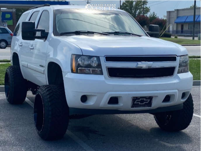 """2007 Chevrolet Tahoe Hella Stance >5"""" on 22x14 -76 offset Hostile Alpha and 33""""x12.5"""" Atturo Trail Blade Mt on Suspension Lift 7.5"""" - Custom Offsets Gallery"""