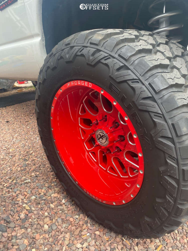 """2003 Dodge Ram 2500 Hella Stance >5"""" on 20x12 -44 offset XF Forged Xfx-301 and 35""""x15.5"""" Fury Offroad Country Hunter M/t on Suspension Lift 5"""" - Custom Offsets Gallery"""