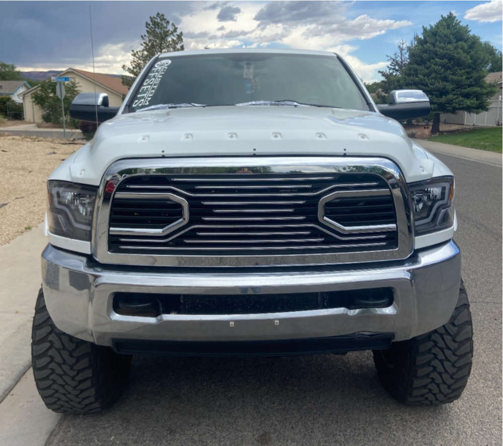 """2013 Ram 2500 Hella Stance >5"""" on 20x12 -44 offset TIS 544bmr and 37""""x13.5"""" Toyo Open Country Mt on Suspension Lift 8"""" - Custom Offsets Gallery"""
