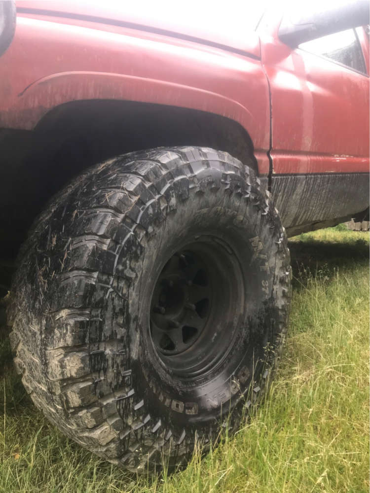 """1996 Dodge Ram 1500 Aggressive > 1"""" outside fender on 15x10 -24 offset Steel Wagon Wagon Wheel and 37""""x14.5"""" Toyo Open Country Mt on Stock Suspension - Custom Offsets Gallery"""