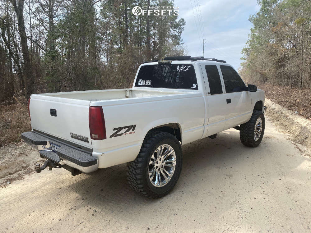 """1998 Chevrolet K1500 Aggressive > 1"""" outside fender on 22x9 24 offset OE Performance 205 and 37""""x13.5"""" Kanati Mud Hog on Suspension Lift 6"""" - Custom Offsets Gallery"""