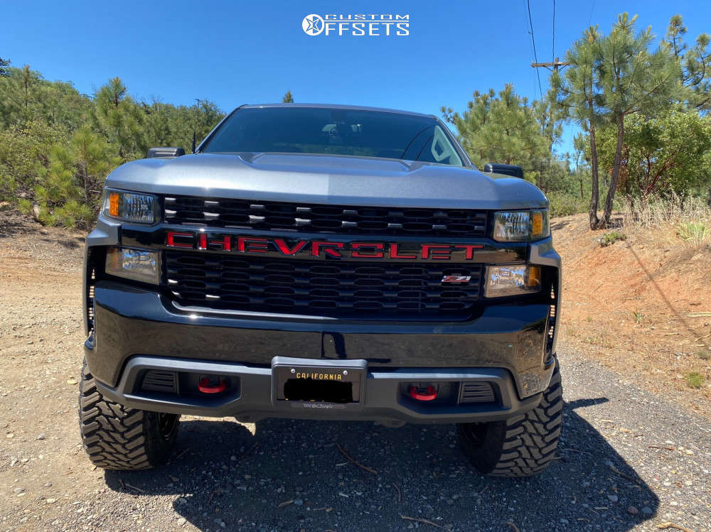 """2019 Chevrolet Silverado 1500 Aggressive > 1"""" outside fender on 22x12 -44 offset Fuel Contra and 35""""x12.5"""" Atturo Trail Blade Mt on Suspension Lift 4"""" - Custom Offsets Gallery"""