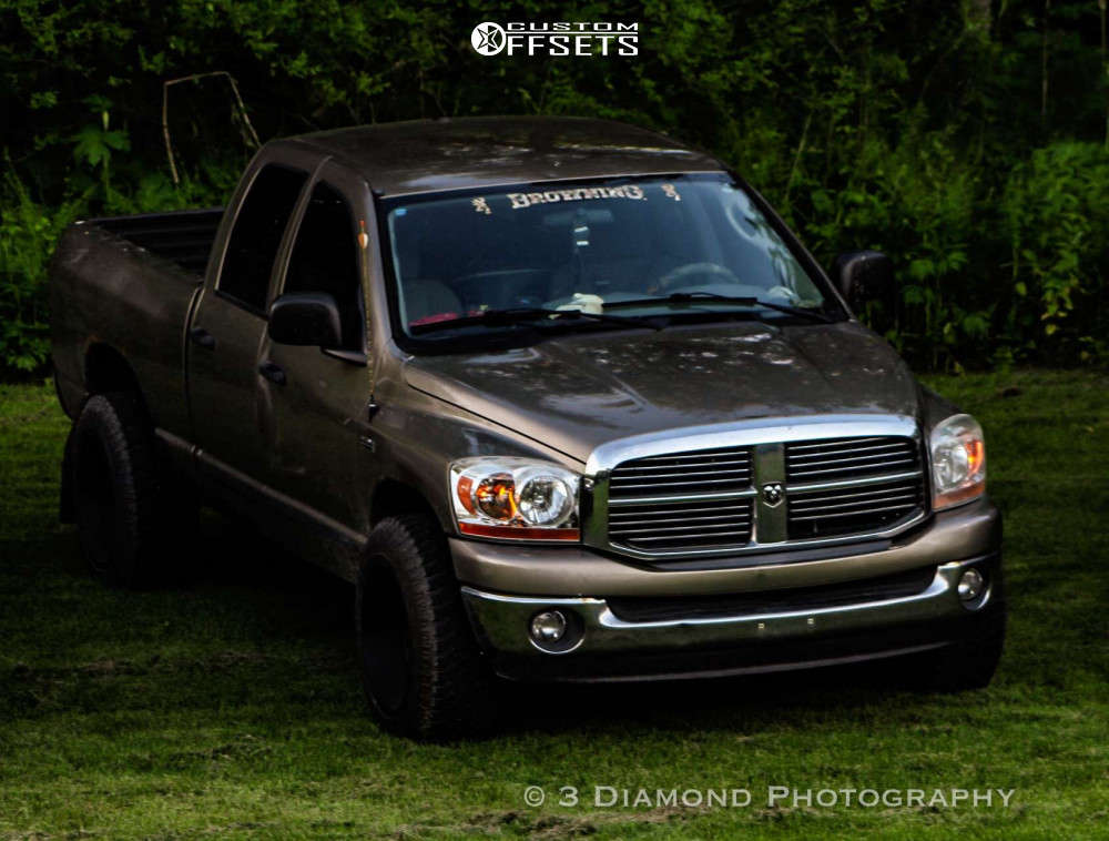 """2006 Dodge Ram 1500 Aggressive > 1"""" outside fender on 20x12 -51 offset Vision Widow and 295/60 Atturo Trail Blade Xt on Stock Suspension - Custom Offsets Gallery"""