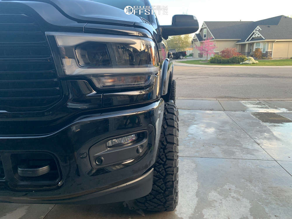 """2019 Ram 2500 Aggressive > 1"""" outside fender on 20x10 -18 offset Fuel Triton and 35""""x12.5"""" Nitto Ridge Grappler on Leveling Kit - Custom Offsets Gallery"""