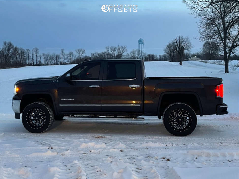 """2016 GMC Sierra 1500 HD Aggressive > 1"""" outside fender on 20x10 0 offset Fuel Triton D581 and 33""""x10.5"""" Milestar Patagonia At on Stock - Custom Offsets Gallery"""