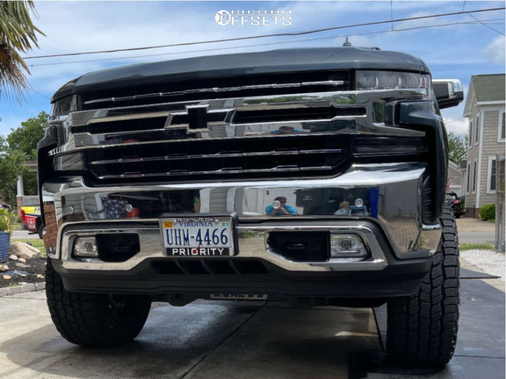 """2020 Chevrolet Silverado 1500 Aggressive > 1"""" outside fender on 20x10 -25 offset Vision Widow and 35""""x12.5"""" Cooper Discoverer At3 Xlt on Suspension Lift 6"""" - Custom Offsets Gallery"""