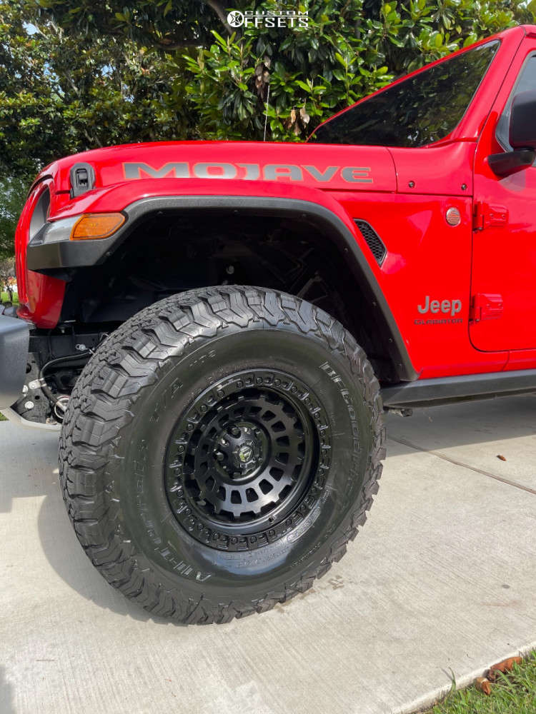 """2021 Jeep Gladiator Aggressive > 1"""" outside fender on 17x9 1 offset Fuel Zephyr and 35""""x12.5"""" BFGoodrich All Terrain T/a Ko2 on Suspension Lift 2.5"""" - Custom Offsets Gallery"""