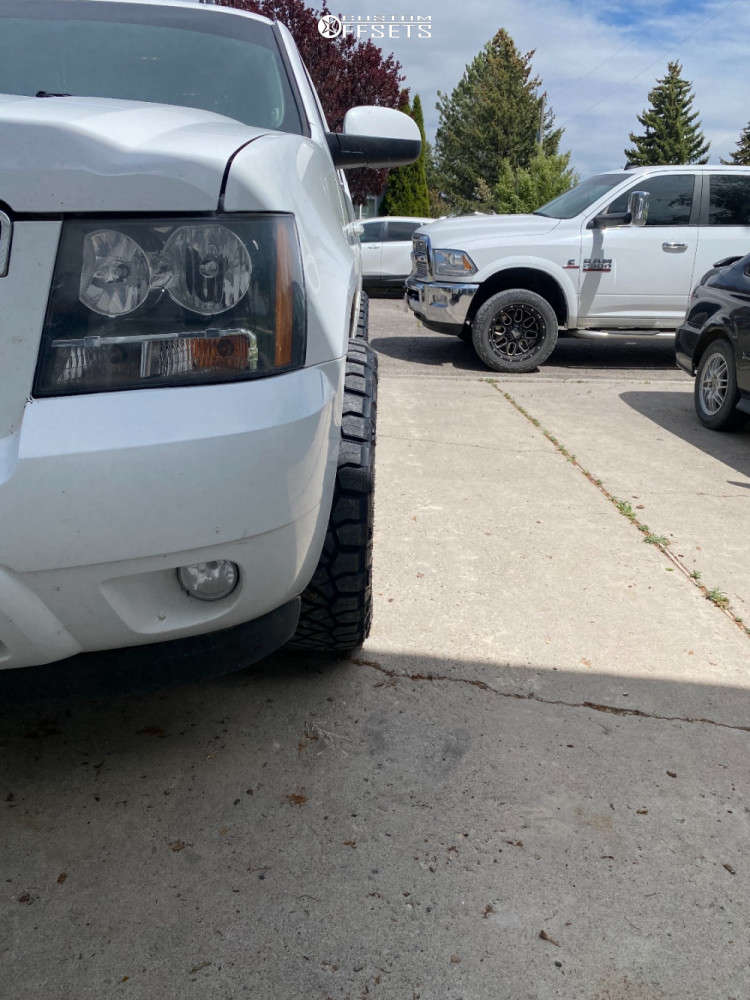 """2013 Chevrolet Tahoe Aggressive > 1"""" outside fender on 20x10 -24 offset Fuel Vandal and 275/55 Nitto Ridge Grappler on Stock Suspension - Custom Offsets Gallery"""