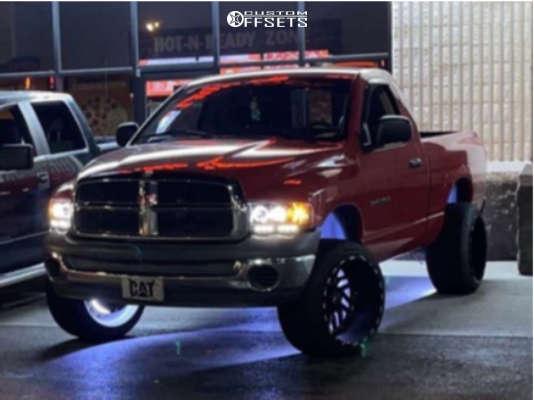 "2002 Dodge Ram 1500 Super Aggressive 3""-5"" on 22x14 76 offset TIS 544bm and 305/45 Atturo Az800 on Leveling Kit - Custom Offsets Gallery"