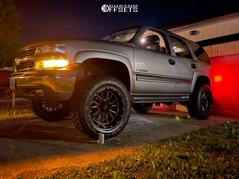 """2003 Chevrolet Tahoe Slightly Aggressive on 20x10 -12 offset Wicked Offroad W907 and 35""""x12.5"""" Toyo Open Country R/t on Suspension Lift 6"""" - Custom Offsets Gallery"""