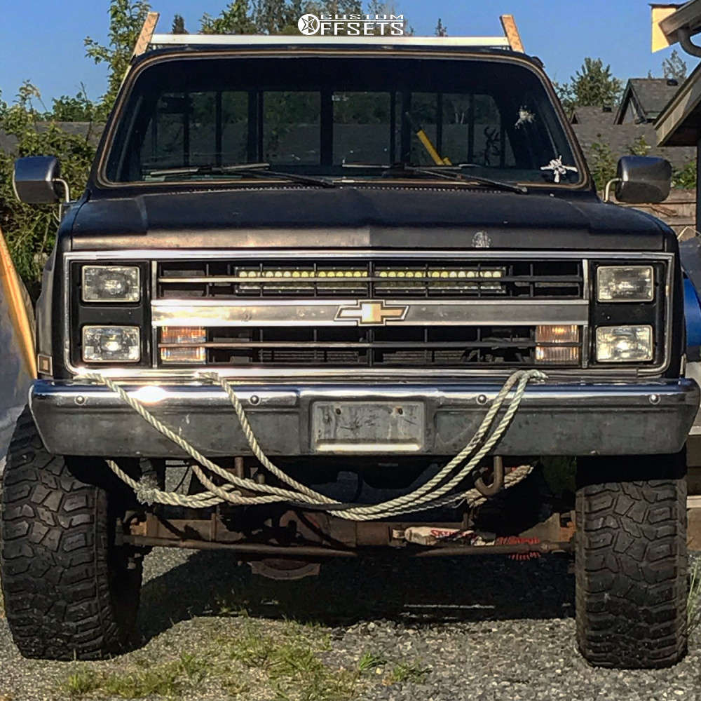 """1985 Chevrolet K10 Pickup Nearly Flush on 15x10 -24 offset American Racing Outlaw and 35""""x12.5"""" BFGoodrich Mud Terrain on Suspension Lift 6"""" - Custom Offsets Gallery"""