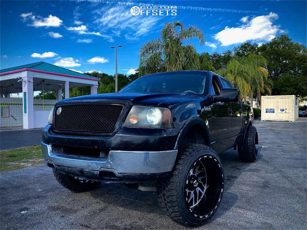 """2004 Ford F-150 Aggressive > 1"""" outside fender on 24x14 -76 offset Tis Forged 544bm and 35""""x12.5"""" Mud Tracker M/t on Suspension Lift 6"""" - Custom Offsets Gallery"""