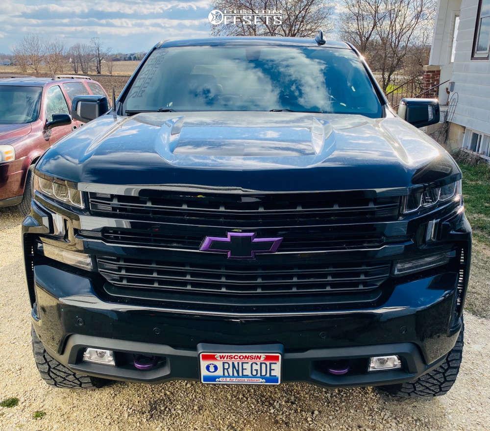 "2019 Chevrolet Silverado 1500 Aggressive > 1"" outside fender on 20x10 -19 offset Fuel Vapor and 295/60 Nitto Ridge Grappler on Suspension Lift 4"" - Custom Offsets Gallery"