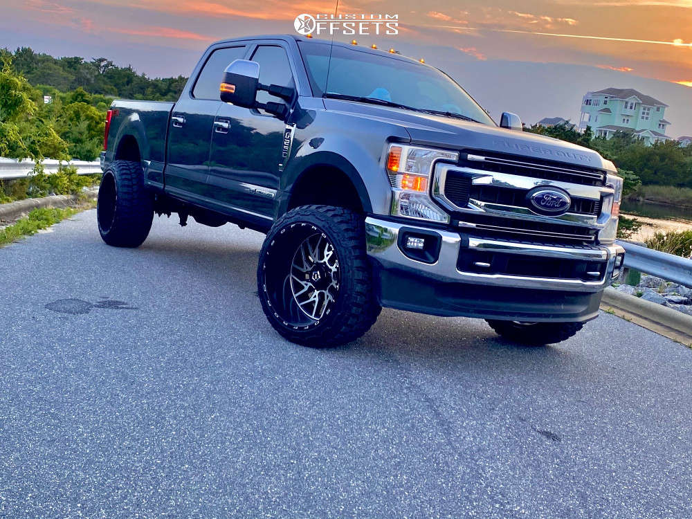 """2021 Ford F-250 Super Duty Super Aggressive 3""""-5"""" on 24x14 -76 offset TIS 544mb and 35""""x13.5"""" Fury Country Hunter Mt on Leveling Kit - Custom Offsets Gallery"""