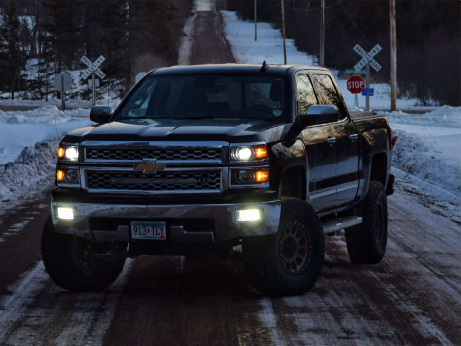 """2015 Chevrolet Silverado 1500 Slightly Aggressive on 17x9 9 offset Method Nv and 35""""x12.5"""" Nitto Ridge Grapplers on Suspension Lift 6.5"""" - Custom Offsets Gallery"""