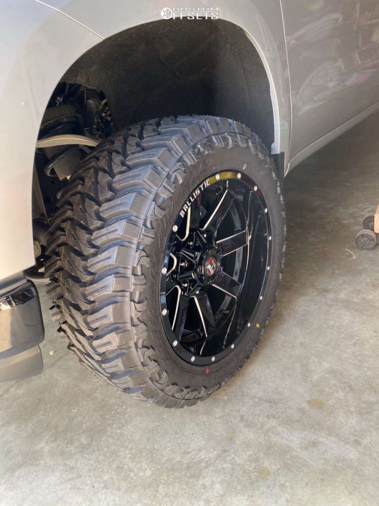 "2020 Chevrolet Silverado 1500 Aggressive > 1"" outside fender on 20x10 -19 offset Ballistic Rage and 33""x12.5"" Atturo Trail Blade Mt on Suspension Lift 2.5"" - Custom Offsets Gallery"