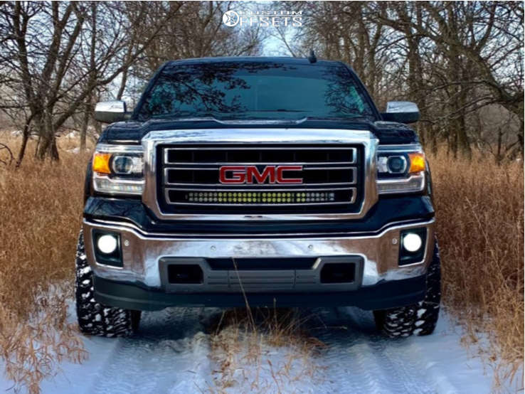 """2015 GMC Sierra 1500 Aggressive > 1"""" outside fender on 22x12 -44 offset Xf Offroad Xf-216 and 33""""x12.5"""" Venom Power Terra Hunter Mt on Stock - Custom Offsets Gallery"""