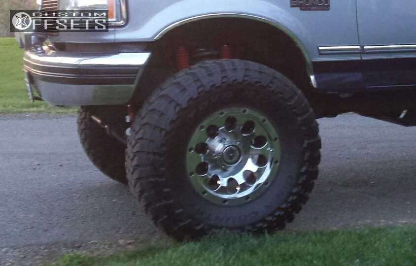 """1995 Ford Bronco Aggressive > 1"""" outside fender on 17x8 0 offset American Racing Atx Slot & 37""""x13.5"""" Toyo Tires Open Country M/T on Suspension Lift 4"""" - Custom Offsets Gallery"""