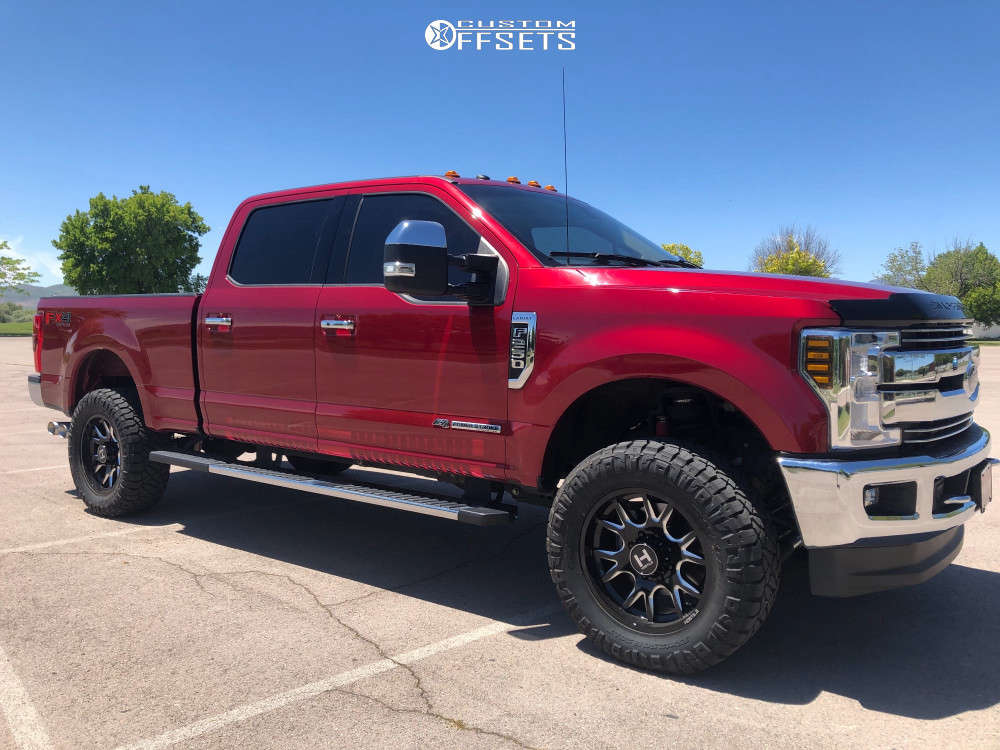 """2017 Ford F-250 Super Duty Slightly Aggressive on 20x9 0 offset Hostile Rage and 35""""x12.5"""" Nitto Ridge Grappler on Leveling Kit - Custom Offsets Gallery"""