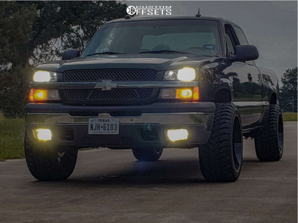 """2004 Chevrolet Silverado 1500 Aggressive > 1"""" outside fender on 22x12 -44 offset Karma Offroad K25 and 33""""x12.5"""" Calvary Cavalry Mt on Suspension Lift 4.5"""" - Custom Offsets Gallery"""