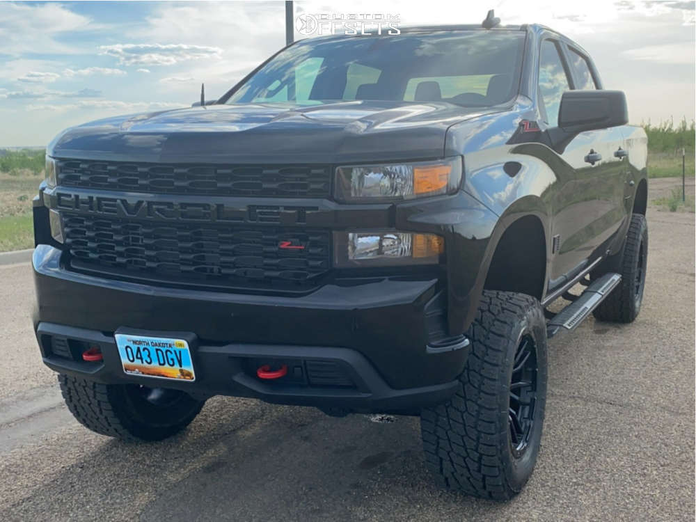 """2020 Chevrolet Silverado 1500 Aggressive > 1"""" outside fender on 20x10 -18 offset Fuel Rebel and 35""""x12.5"""" Nitto Terra Grappler G2 on Suspension Lift 4"""" - Custom Offsets Gallery"""