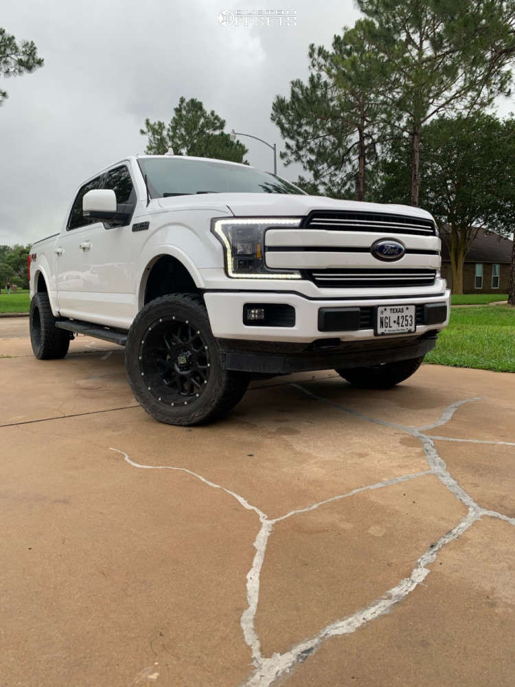 """2018 Ford F-150 Aggressive > 1"""" outside fender on 20x12 -44 offset XD Grenade and 33""""x12.5"""" Toyo Open Country R/t on Suspension Lift 4"""" - Custom Offsets Gallery"""