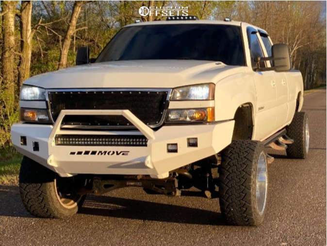 "2005 Chevrolet Silverado 3500 HD Super Aggressive 3""-5"" on 22x12 -44 offset American Force Trax Ss and 33""x12.5"" Venom Terra Hunter Mt on Suspension Lift 6"" - Custom Offsets Gallery"