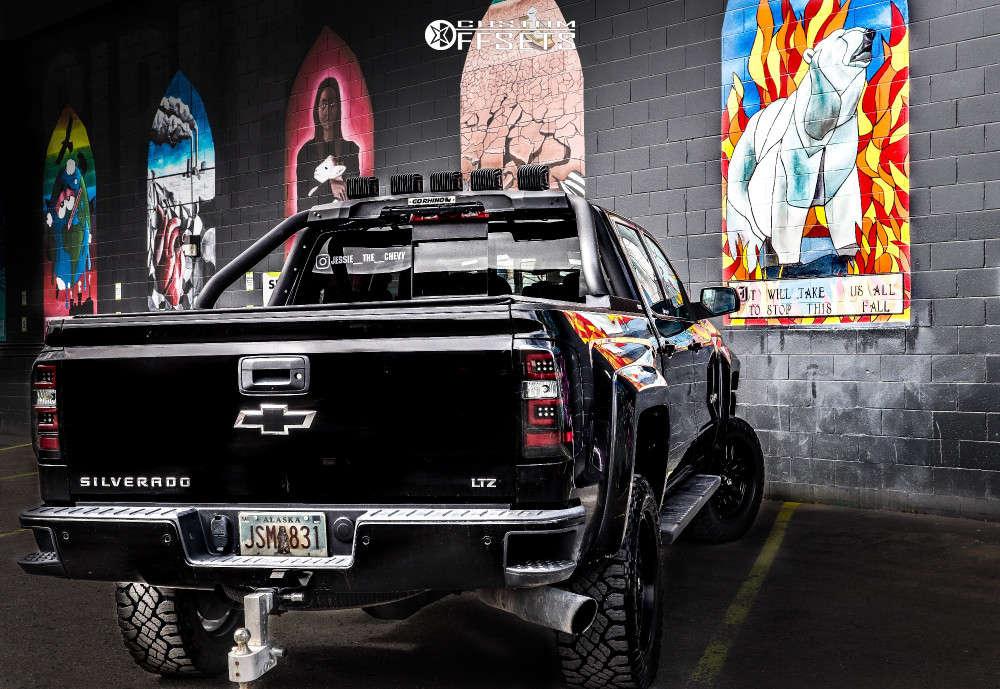 "2018 Chevrolet Silverado 1500 Aggressive > 1"" outside fender on 20x12 -44 offset Fuel Sledge and 33""x12.5"" BFGoodrich All Terrain Ta Ko2 on Suspension Lift 4"" - Custom Offsets Gallery"