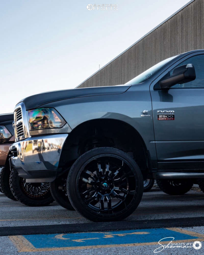 """2011 Ram 2500 Super Aggressive 3""""-5"""" on 24x14 -76 offset Fuel Sledge and 265/35 Nitto Nt420s on Suspension Lift 4"""" - Custom Offsets Gallery"""