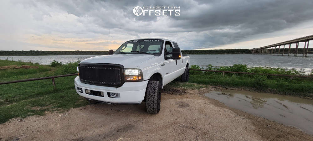 """2007 Ford F-250 Super Duty Aggressive > 1"""" outside fender on 17x9 0 offset Ballistic Morax and 37""""x10.5"""" Falken Wildpeak At Trail on Stock Suspension - Custom Offsets Gallery"""