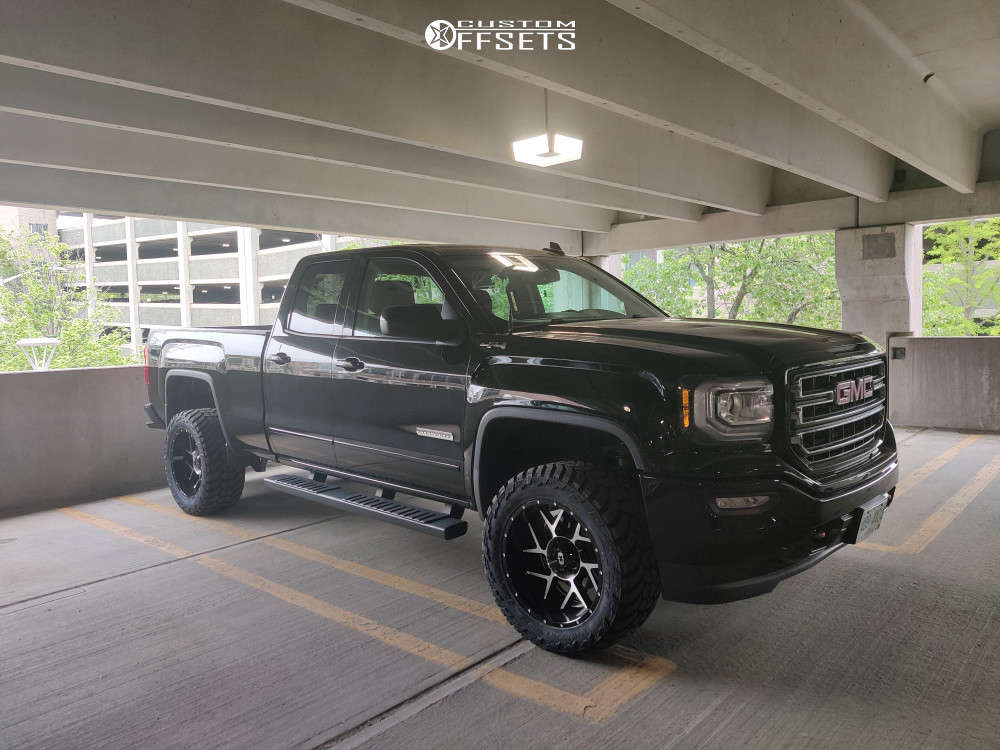 """2017 GMC K1500 Aggressive > 1"""" outside fender on 20x10 -24 offset Vision Sliver 360 and 33""""x12.5"""" AMP Mud Terrain Attack Mt A on Stock - Custom Offsets Gallery"""