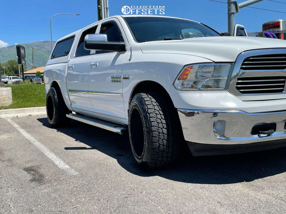 """2014 Ram 1500 Aggressive > 1"""" outside fender on 20x12 -51 offset Vision Rocker 412 and 305/50 Nitto Terra Grappler G2 on Stock Suspension - Custom Offsets Gallery"""