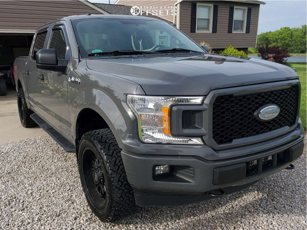 """2018 Ford F-150 Aggressive > 1"""" outside fender on 20x9 0 offset Panther Offroad 580 and 285/65 Venom Power Terra Hunter X/t on Leveling Kit - Custom Offsets Gallery"""
