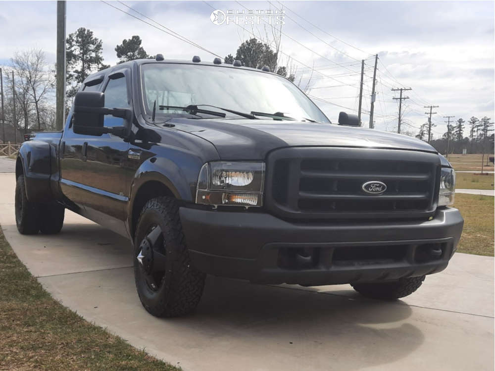 """1999 Ford F-350 Super Duty Aggressive > 1"""" outside fender on 16x6 0 offset XD Rockstar and 265/75 Venom Power Terra Hunter X/t on Stock Suspension - Custom Offsets Gallery"""