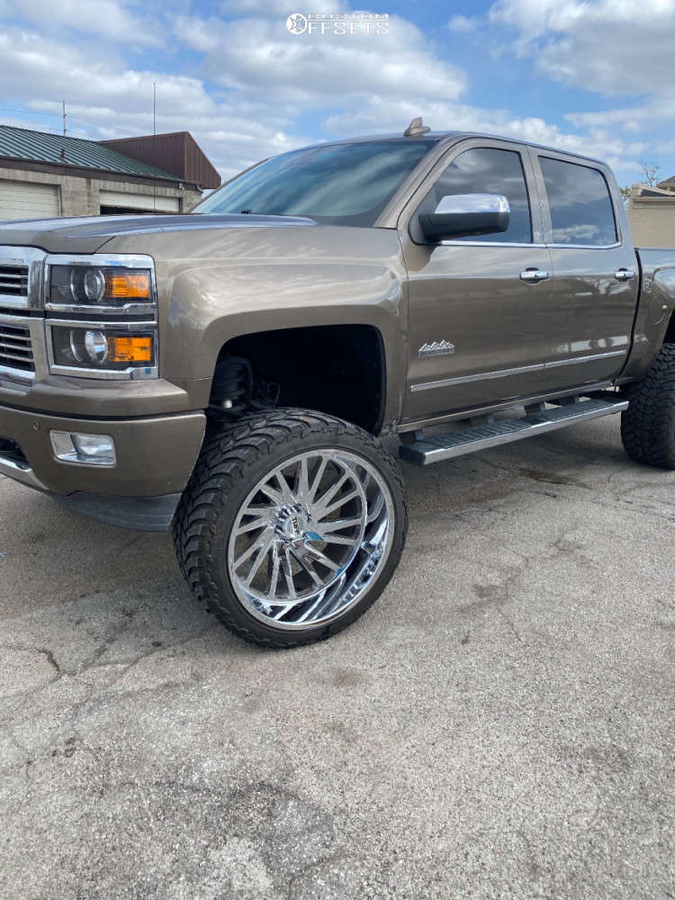 """2015 Chevrolet Silverado 1500 Aggressive > 1"""" outside fender on 26x14 -76 offset Tuff T2a and 37""""x13.5"""" AMP Mud Terrain Attack M/t A on Suspension Lift 8"""" - Custom Offsets Gallery"""