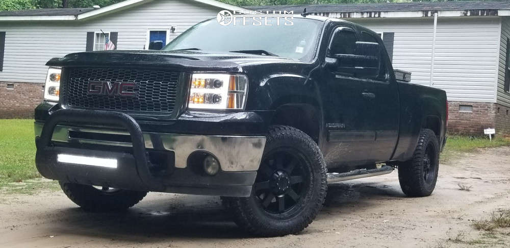 """2010 GMC Sierra 1500 Aggressive > 1"""" outside fender on 20x9 18 offset Gear Off-road Big Block and 305/50 Atturo Trail Blade At on Suspension Lift 3"""" - Custom Offsets Gallery"""