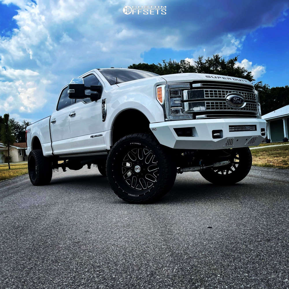 """2017 Ford F-250 Super Duty Super Aggressive 3""""-5"""" on 24x12 -44 offset XF Forged Xfx-301 and 35""""x12.5"""" AMP Mud Terrain Attack Mt A on Suspension Lift 4"""" - Custom Offsets Gallery"""