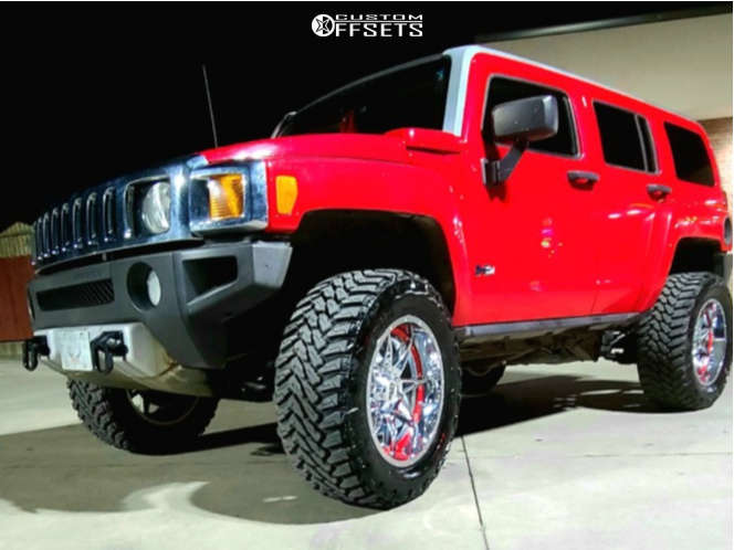 """2008 Hummer H3 Aggressive > 1"""" outside fender on 20x12 -44 offset Moto Metal Mo993 and 35""""x12.5"""" Venom Power Terra Hunter Mt on Suspension Lift 3.5"""" - Custom Offsets Gallery"""