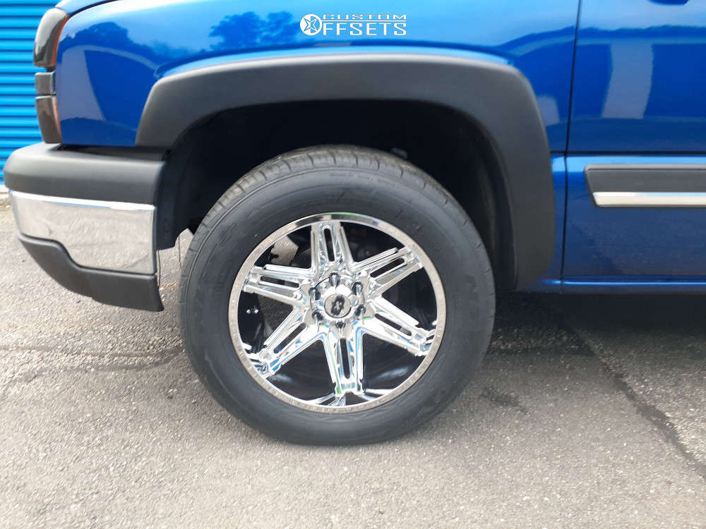 """2003 Chevrolet Silverado 1500 Aggressive > 1"""" outside fender on 20x10 -25 offset Vision Razor and 31""""x11.5"""" Nitto Nt420v on Stock Suspension - Custom Offsets Gallery"""