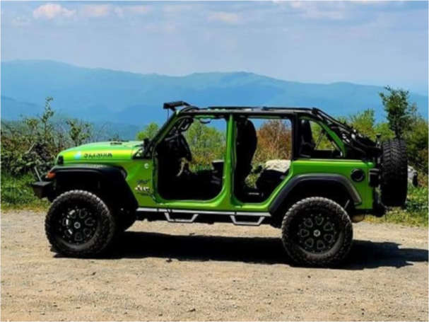 """2019 Jeep Wrangler Aggressive > 1"""" outside fender on 17x8.5 0 offset Vision Fury and 35""""x12.5"""" Delium Terra Raider on Suspension Lift 2.5"""" - Custom Offsets Gallery"""
